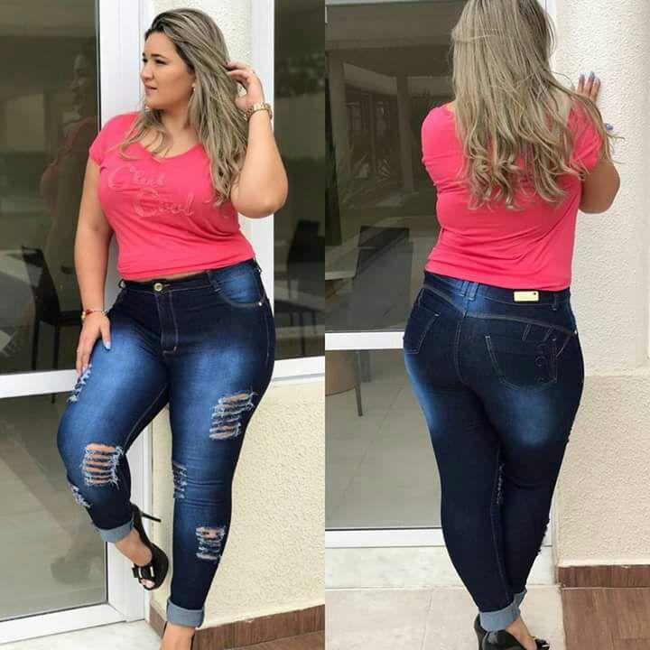 Calça Jeans Plus size Azul Mesclado Rasgadinha