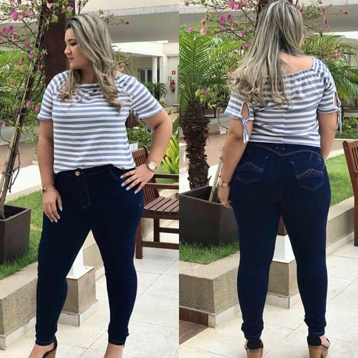 Calça Jeans Plus size Azul Escuro Básica Hot Pant