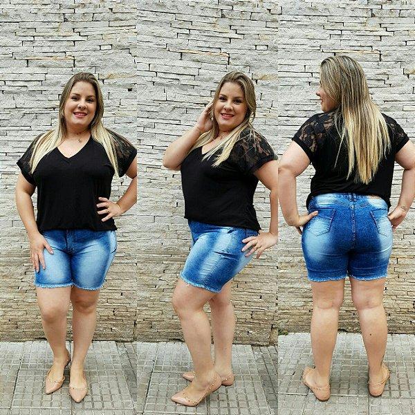 Bermuda Jeans Plus Size Mesclada Clara