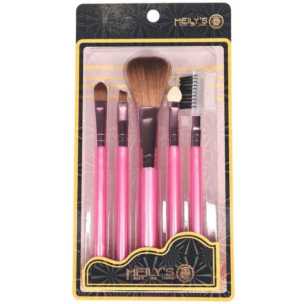 Kit 05 pincéis de maquiagem Meily's MKP-143 cabo rosa