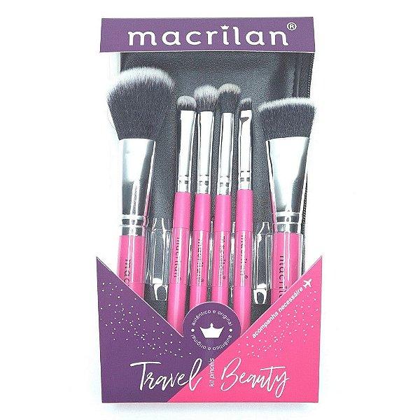 Kit com 6 pincéis profissionais Travel Beauty KP10-2 Macrilan