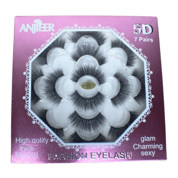 Caixa com 7 pares de cílios postiços 5D n.25 Adriane Makeup