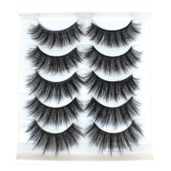 Caixa com 5 pares de cílios postiços 3D – n. 116 Adriane Makeup