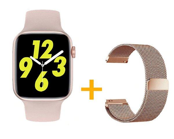 Relógio Smartwatch IWO W26 PRO - Rosa - Tela Infinita - IOS / Android - 44mm + Pulseira Extra Milanês