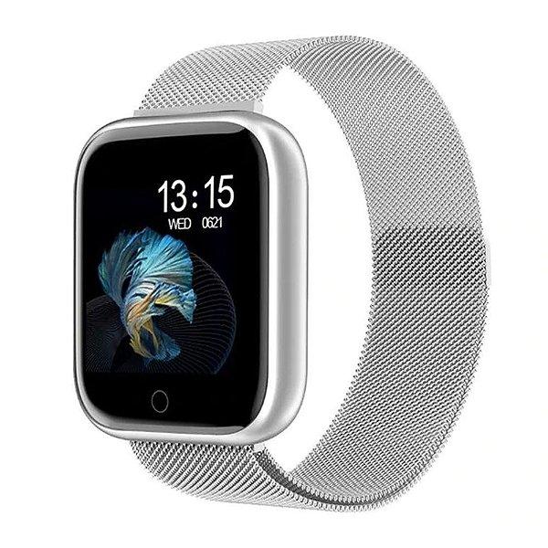 Relógio Eletrônico Smartwatch CF T80 Milanês - Android e iOS