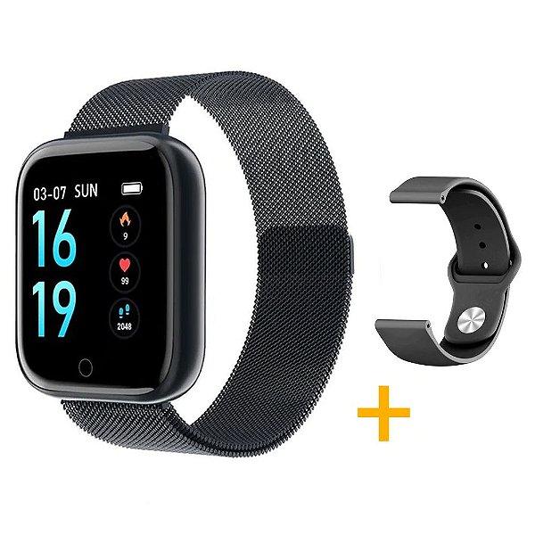 Relógio Eletrônico Smartwatch CF T80 - Preto - Android e iOS - + 1 Pulseira de Brinde