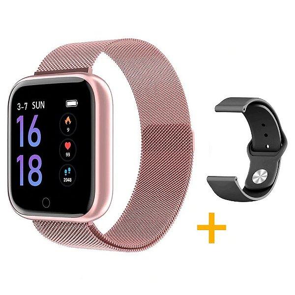 Relógio Eletrônico Smartwatch CF T80 - Rosé - Android e iOS - + 1 Pulseira de Brinde