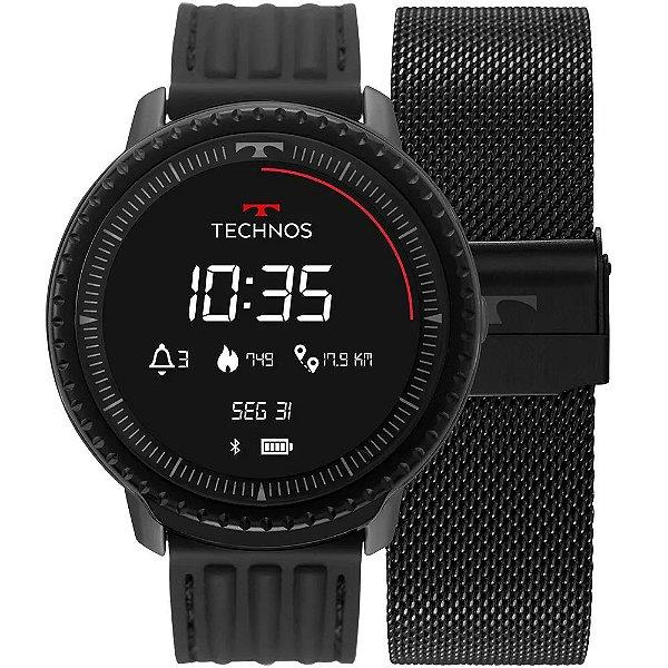 Smartwatch Technos Connect ID Preto - L5AA/1P + 1 Pulseira de Brinde