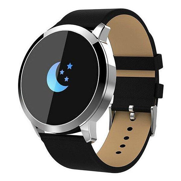 Relógio Eletrônico Smartwatch CF Gear - Couro Preto com Prata