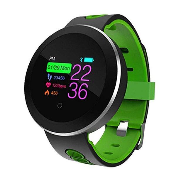 Relógio Eletrônico Smartwatch CF Gear - Preto com Verde