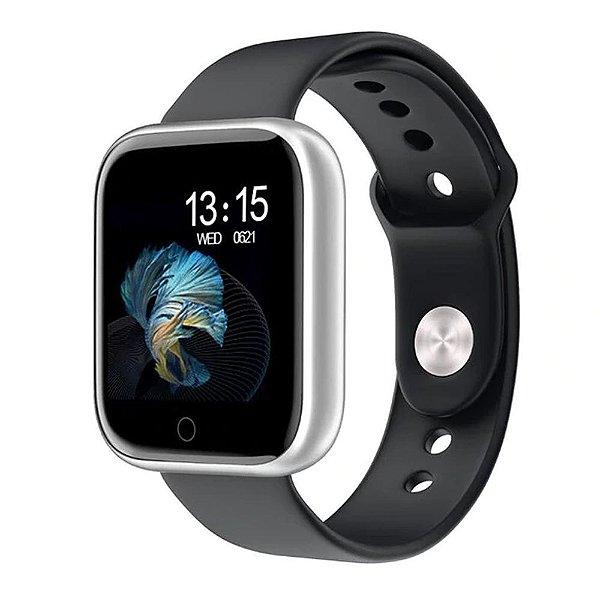 Relógio Eletrônico Smartwatch CF T80 - Preto com Prata - Android e iOS