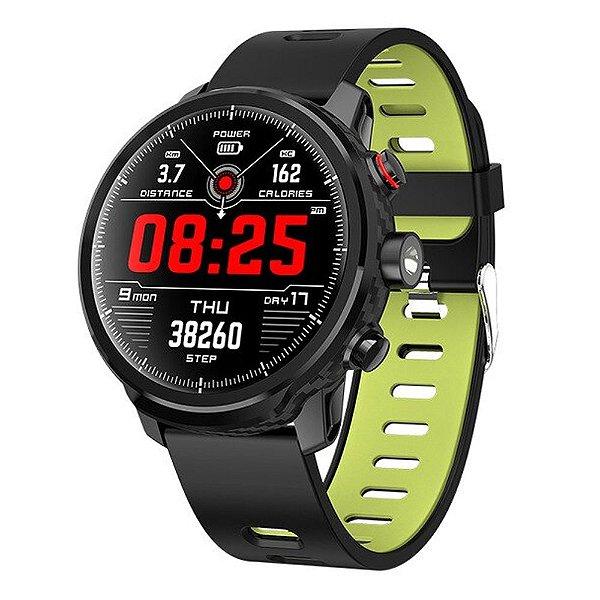 Relógio Eletrônico Smartwatch Magnus Stratos L5 - Preto com Verde - IOS e Android
