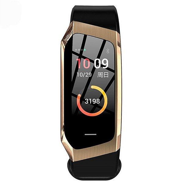Relógio Eletrônico Smartwatch Talk Band - Preto com Dourado - Android e IOS
