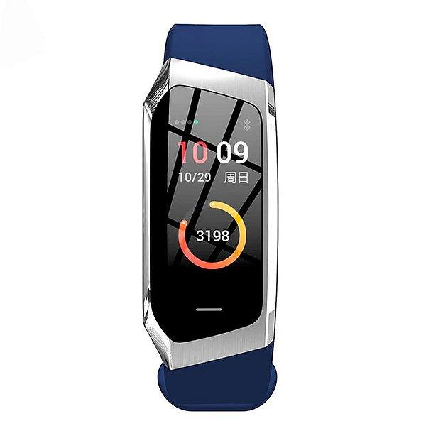 Relógio Eletrônico Smartwatch Talk Band - Azul com Prata - Android e IOS