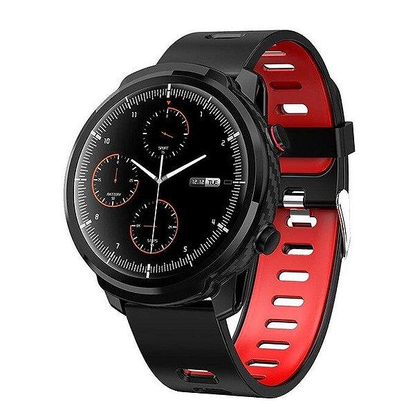 Relógio Smartwatch CF L3 - Preto com Vermelho -  iPhone ou Android
