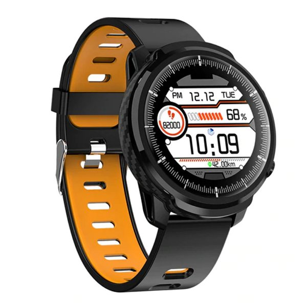 Relógio Smartwatch CF L3 - Preto com Laranja -  iPhone ou Android