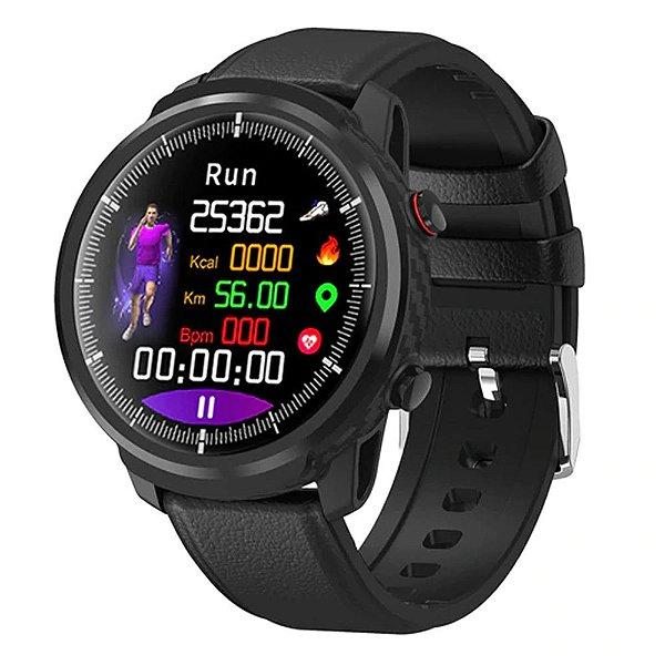 Relógio Smartwatch CF L3 - Couro Preto - iPhone ou Android
