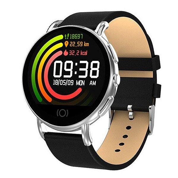 Relógio Smartwatch CF Supreme - Preto com Prata - Android e iOS