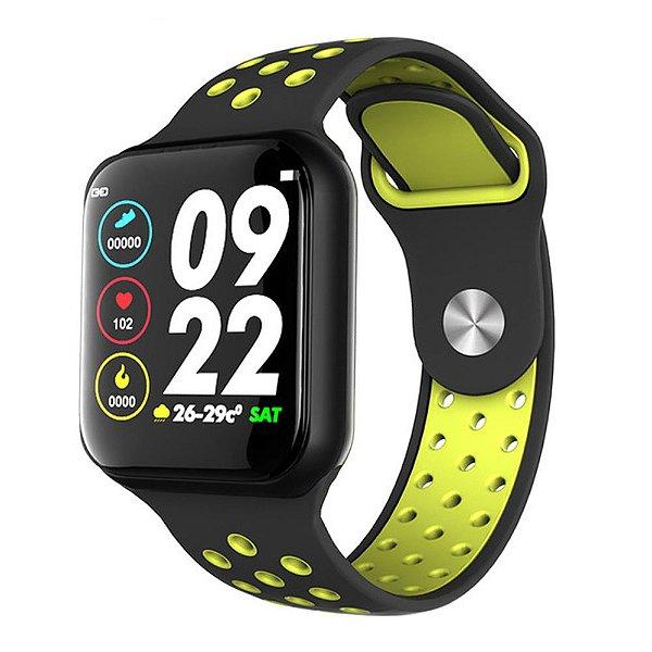 Relógio Smartwatch OLED Pró Série 3 42MM - Preto com Verde - iPhone ou Android