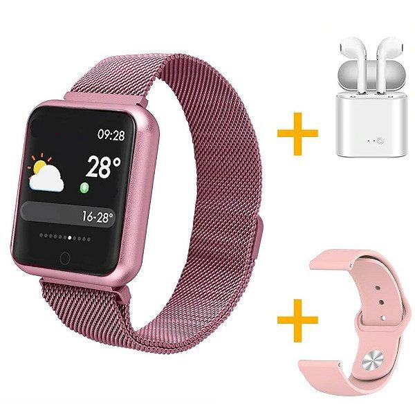 Relógio Eletrônico Smartwatch P68 Rosa + Pulseira de Brinde + Fone de Ouvido