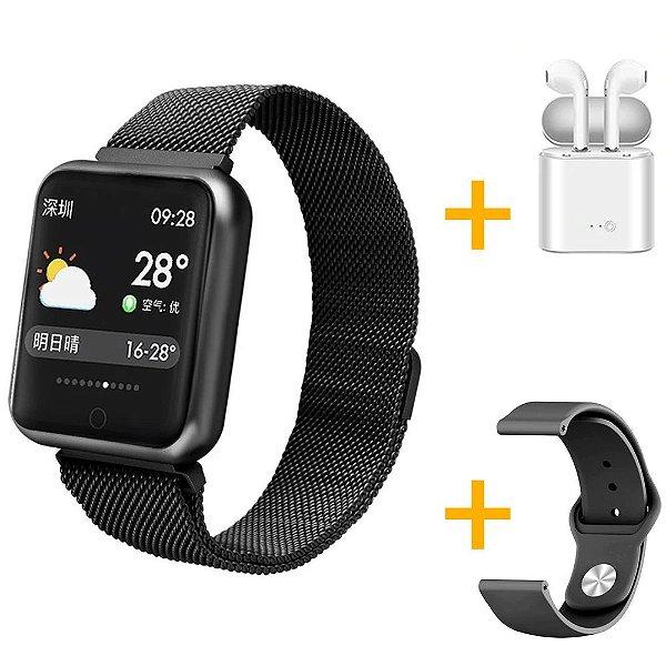 Relógio Eletrônico Smartwatch P68 Preto + Pulseira de Brinde + Fone de Ouvido