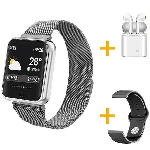 Relógio Eletrônico Smartwatch P68 Prata + Pulseira de Brinde + Fone de Ouvido