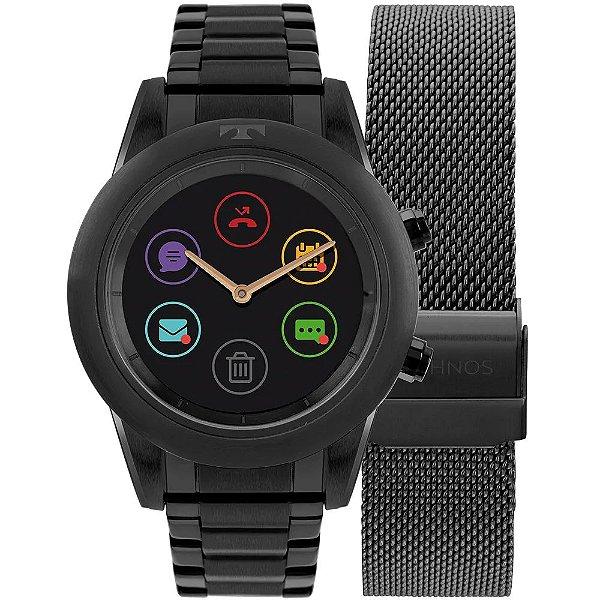 Relógio Smartwatch Technos Connect Duo Preto - P01AD/4P + 1 Pulseira de Brinde