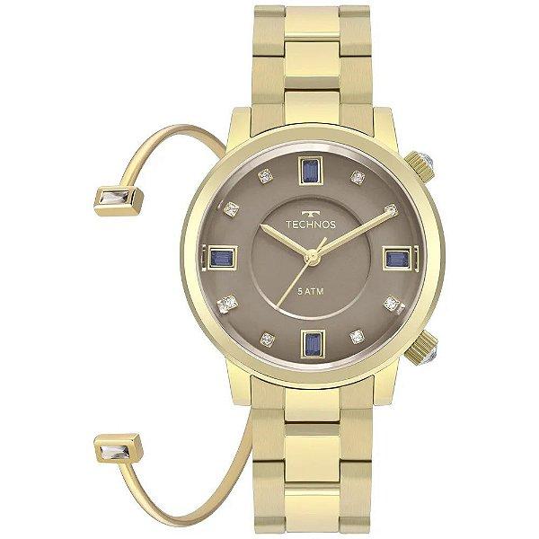 Kit Relógio Technos Rocks Feminino Dourado + Bracelete Cristais - 2039BU/K4C
