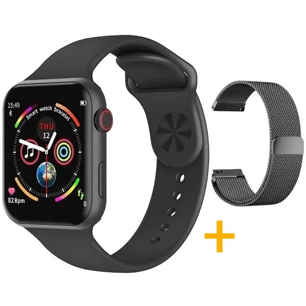 Relógio Smartwatch F10 - Preto - iOS / Android - 44mm + Pulseira Extra Milanês Preto