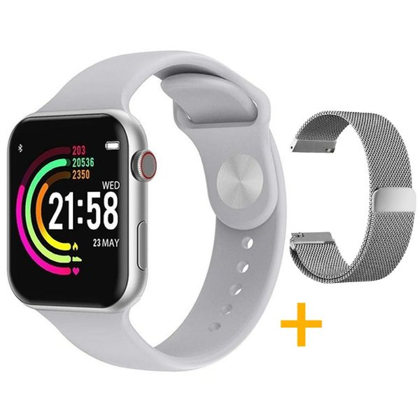 Relógio Smartwatch F10 - Branco - iOS / Android - 44mm + Pulseira Extra Milanês - Prata