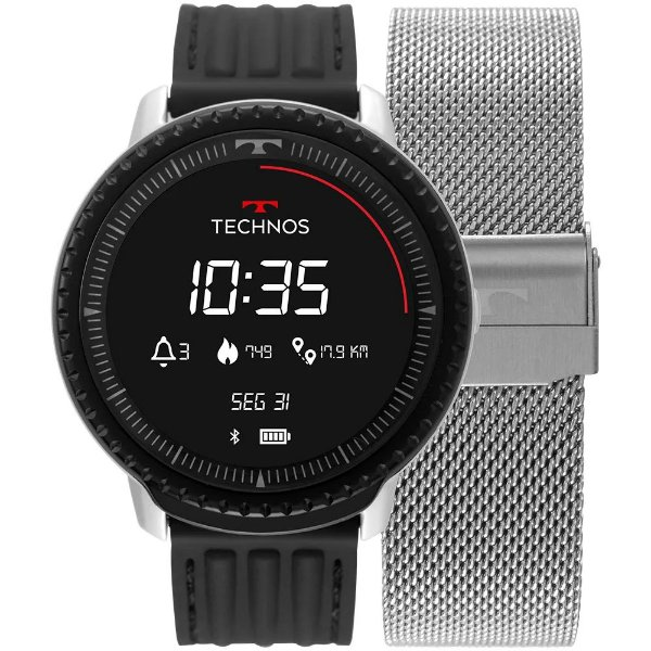 Smartwatch Technos Connect ID - Prata - L5AB/4P + 1 Pulseira de Brinde
