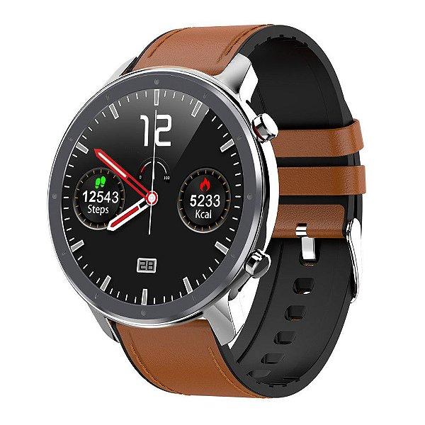 Relógio Eletrônico Smartwatch L11 - Marrom com Detalhes Prata - IOS e Android