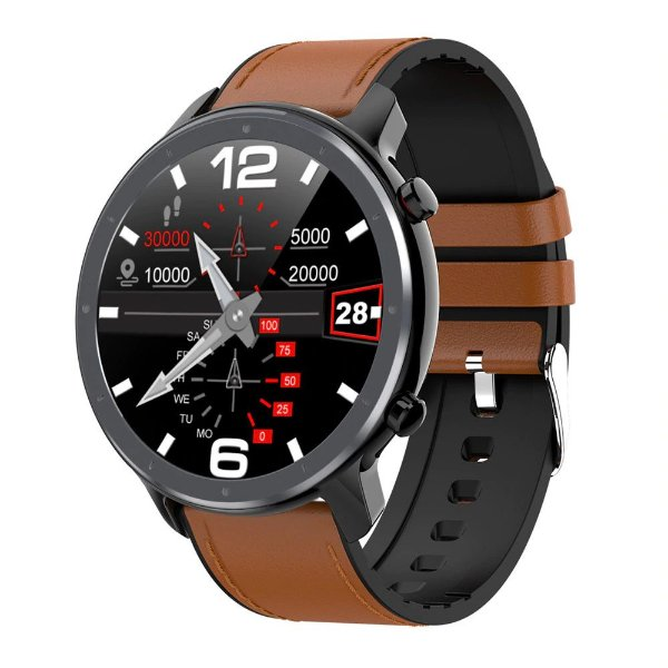 Relógio Eletrônico Smartwatch L11 - Marrom com Detalhes Preto - IOS e Android