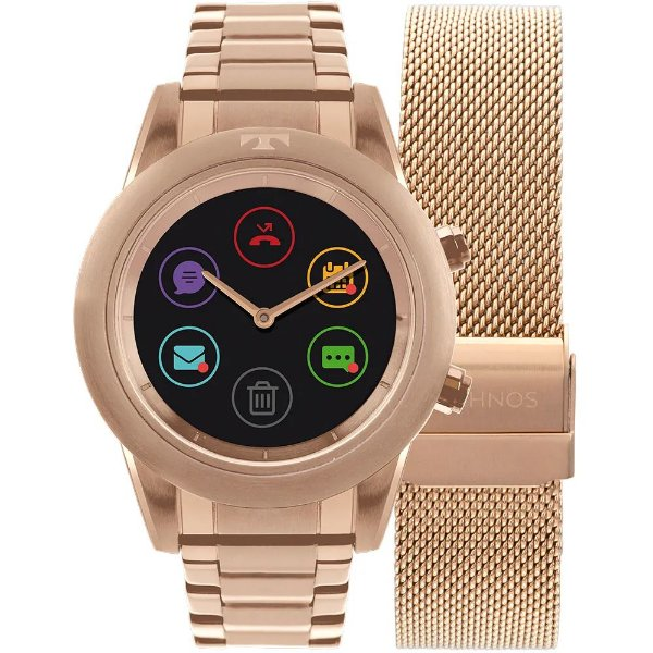 Relógio Smartwatch Technos Connect Duo Rosé Gold - P01AE/4P  + 1 Pulseira de Brinde