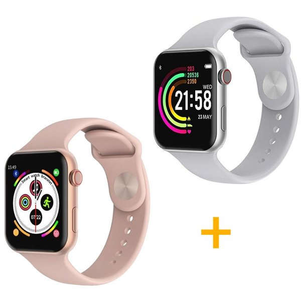 2 Relógios Smartwatch F10 - 1 Rosa e 1 Branco - iOS / Android - 44mm