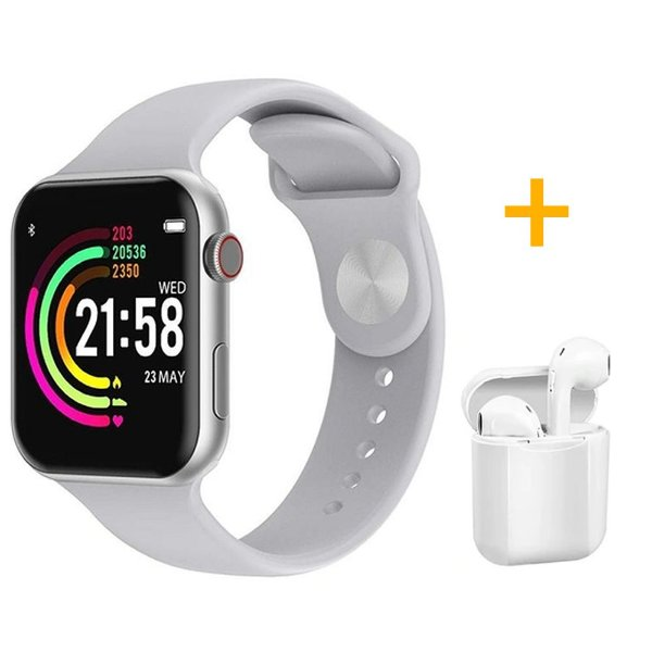 Relógio Smartwatch F10 - Branco - iOS / Android - 44mm + Fone de Ouvido