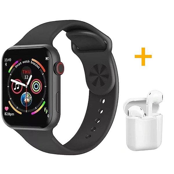 Relógio Smartwatch F10 - Preto - iOS / Android - 44mm + Fone de Ouvido