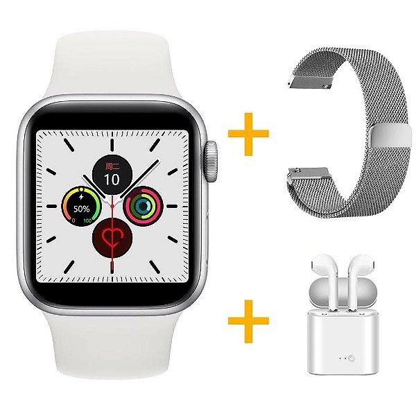 Relógio Smartwatch IWO 12 Pro Série 5 - Branco - 44mm + 1 Pulseira Extra - Prata Milanese +  Fone de Ouvido