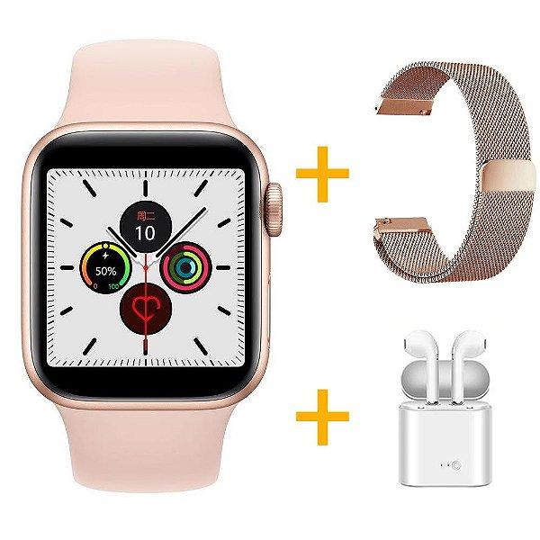Relógio Smartwatch IWO 12 Pro Série 5 - Rosa - 44mm + 1 Pulseira Extra - Rosê Gold Milanese + Fone de Ouvido