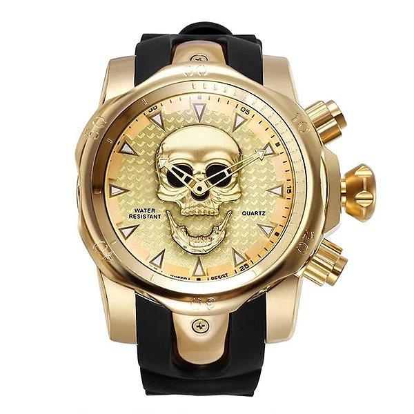 Relógio Masculino Big Dial Skull - Dourado com Preto - Aço Inox