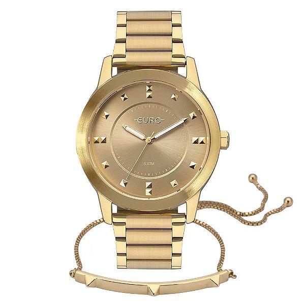 Kit Relógio Euro Feminino - Dourado + Pulseira - EU2039JPK/4D