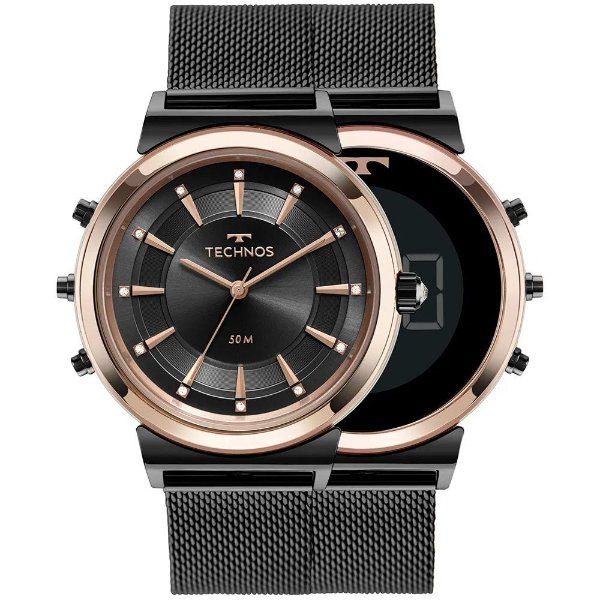 Relógio Technos Feminino Curvas - Preto Bicolor - 9T33AB/4P