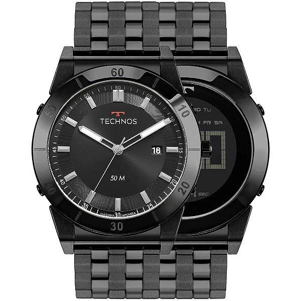 Relógio Technos Masculino Curvas - Preto - 1S13CR/4P