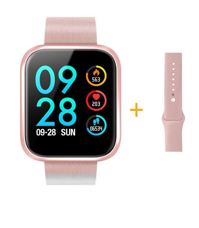 Relógio Eletrônico Smartwatch CF P70 - Rosa + Pulseira Extra Rosa Silicone