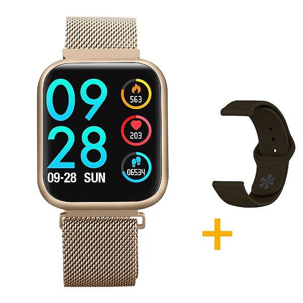 Relógio Eletrônico Smartwatch CF P80 - Gold + Pulseira Extra Silicone Marrom - Android e IOS