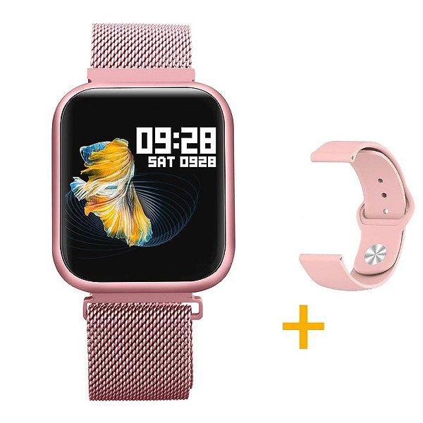 Relógio Eletrônico Smartwatch CF P80 - Rosé + Pulseira Extra Silicone Rosa - Android e IOS