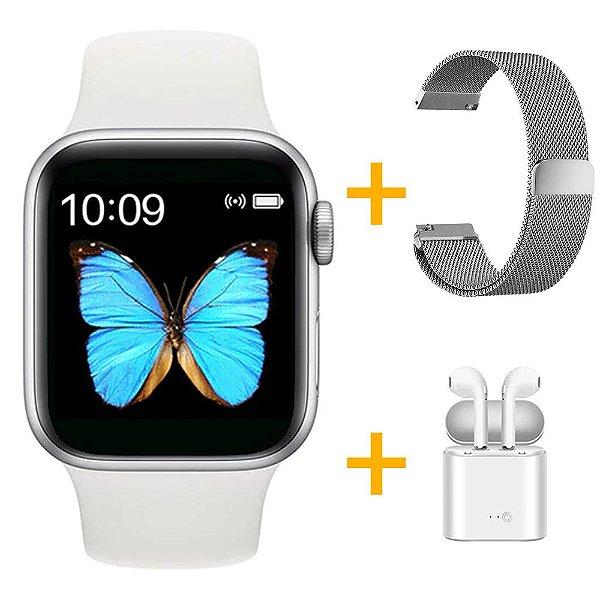 Relógio Smartwatch T500 - Branco + Pulseira Extra Milanês Prata + Fone de Ouvido - iOS / Android - 44mm