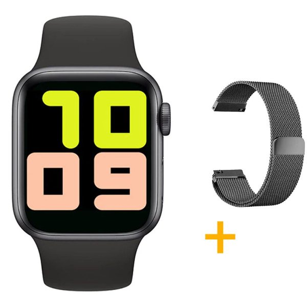 Relógio Smartwatch T500 - Preto + Pulseira Extra Preto Milanês - iOS / Android - 44mm