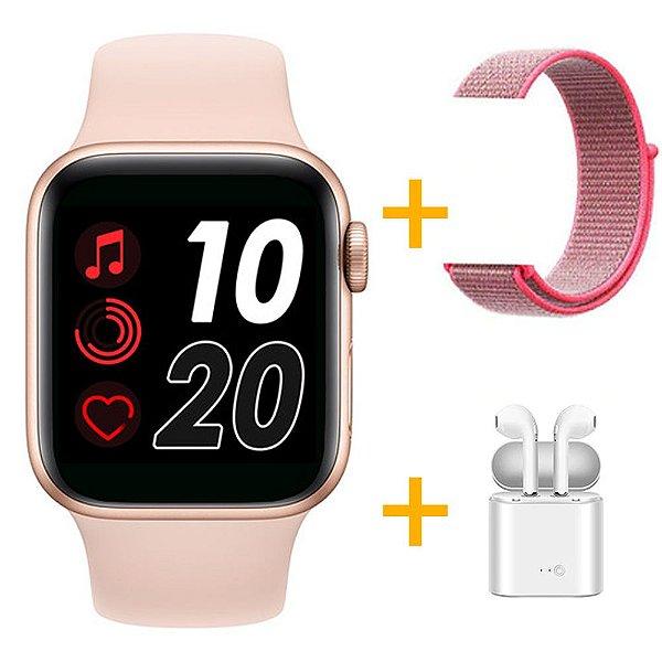 Relógio Smartwatch T500 - Rosa + Pulseira Extra Nylon Rosa + Fone de Ouvido - iOS / Android - 44mm