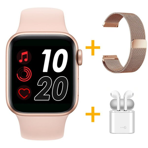 Relógio Smartwatch T500 - Rosa + Pulseira Extra Milanês Rose + Fone de Ouvido - iOS / Android - 44mm